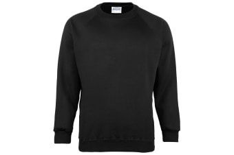 Maddins Kids Unisex Coloursure Crew Neck Sweatshirt / Schoolwear (Black) (34)