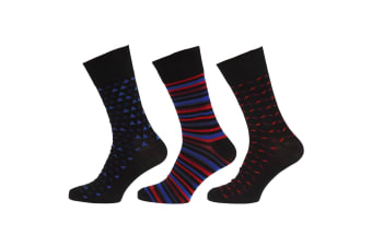 Pierre Roche Mens Comfort Fit Socks (Pack Of 3) (Black/Red)