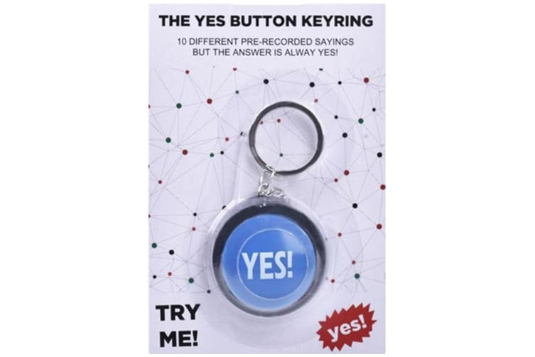 The YES! Button KeyChain Keyring 10 Different Sayings Novelty Office Desk Gift