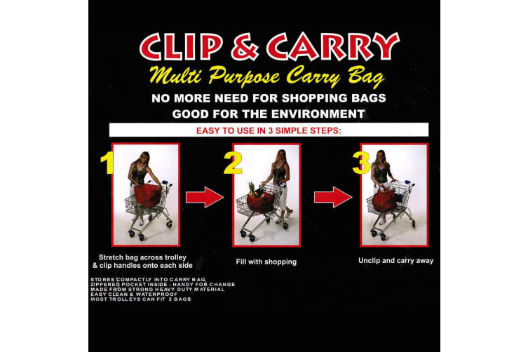 4PK Multi Purpose Clip + Carry Bag for Shopping Trolley Waterproof Compact Black