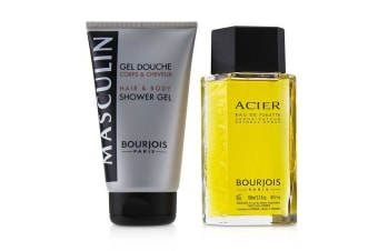 Bourjois Masculin Coffret: Acier Eau De Toilette Spray 100ml+Hair & Body Shower Gel 150ml 2pcs