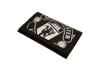 Manchester United FC Touch Fastening Nylon Wallet (Black/White)