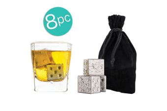 8pc Bartender Reusable Stainless Steel Dice Square Drink Ice Cubes Chiller w Bag