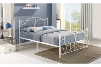 King Size French Metal Bed Frame WHITE