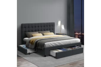Queen Size Bed Frame Base Mattress With Storage Drawer Fabric