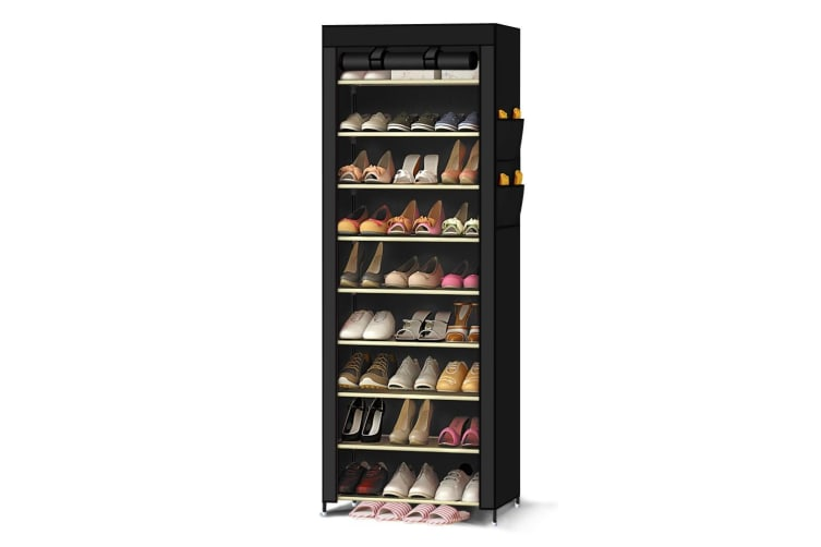 10 Tier Shoes Cabinet Storage Organizer Shoe Rack Portable Wardrobe With Cover  -  BlackBlack