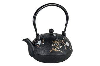 Avanti 1.1L Cast Iron Teapot w  Removable S S Infuser Lid Tea Pot Cherry Blossom
