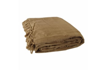 Cotton Hamilton Blanket 240 x 260 cm Latte by IDC Homewares