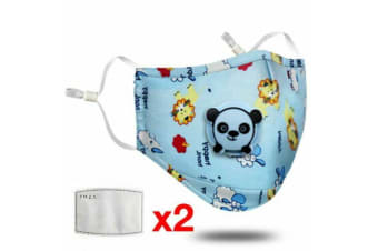 Blue Washable Reusable PM2.5 Anti Air Pollution Face Mask With Respirator &2 Filters for Kids-1 Pack