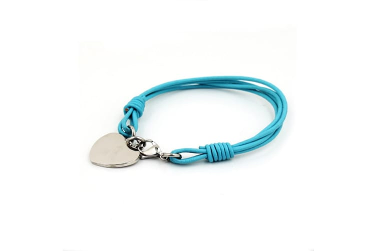 Heart Charm Wrap Bracelet-Leather/Aquamarine