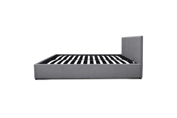 Double Gas Lift Fabric Bed Frame (Grey)