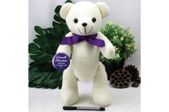 Personalised Coach Signature Bear - Purple Bow