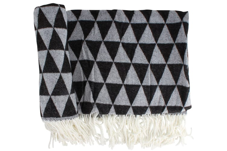 Soft Acrylic Throw   Pyramid Pattern   2 Assorted Colours