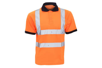 Yoko Hi-Vis Short Sleeve Polo Shirt / Mens Workwear (Hi Vis Orange) (4XL)