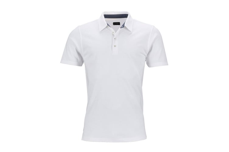 James and Nicholson Mens Short Sleeve Polo (White/Navy) (XXL)