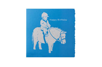Deckled Edge Colour Block Pony Greetings Card (Happy Birthday - Child and Shetland Pony (Blue))
