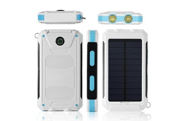 TODO Todo 8000Mah Solar Power Bank Mobile Phone Usb Iphone Charger Led Torch - White Blue