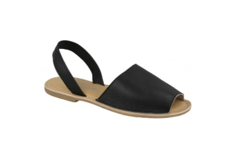Leather Collection Womens/Ladies  Slingback Mule Sandals (Black Leather)