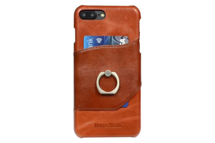 official photos d9a99 f1600 For iPhone 8 PLUS 7 PLUS Case FS Ring Holder Genuine Leather Cover Brown