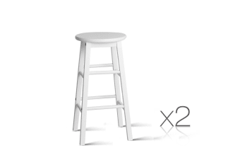 Set of 2 Wooden Bar Stool (White)