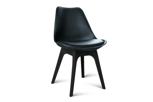 Set of 4 Replica Eames DSW PU Leather Chair (Black)