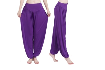 Womens Modal Cotton Soft Yoga Sports Dance Harem Pants Purple L