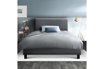 Artiss Fabric Bed Frame Headboard Grey