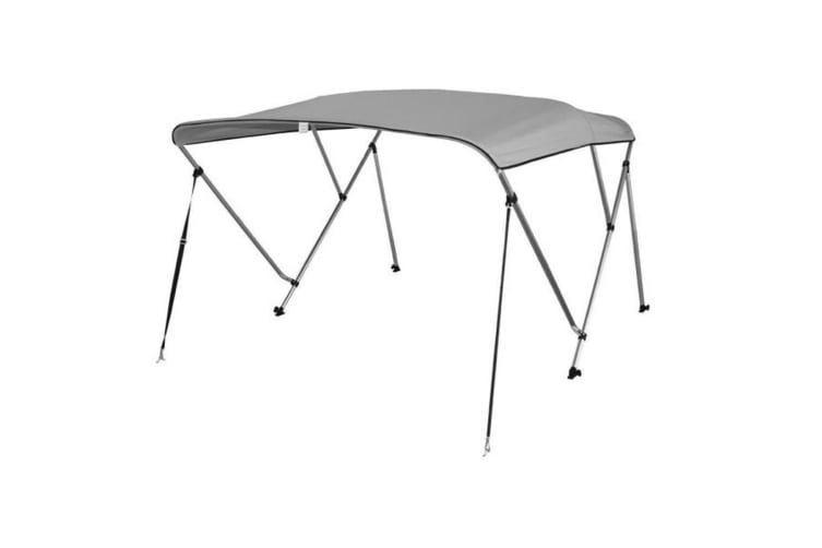 Kaiser Boating 3 Bow 1.8-2.0m Bimini Top Boat Canopy - 130cm height - 165cm length - Light Grey - Complete kit includes Aluminium Frame + 600D Oxford Polyester Cover + Rear Poles + Sock