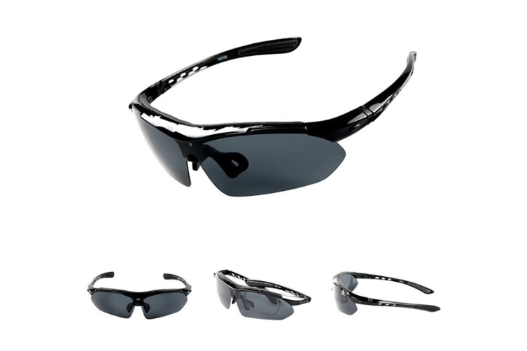 Outdoor Sports Polarizing Sunglasses Removable Lens Removable Legs 5-Piece Suit - Black Black 5Pcs