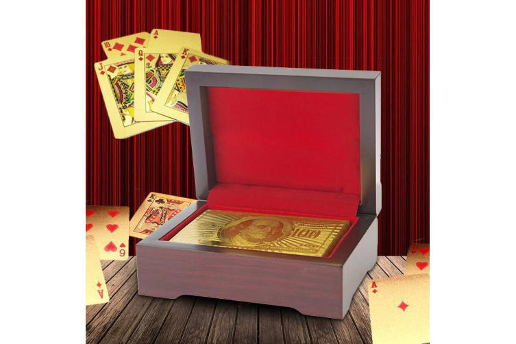 24K Carat Genuine Gold Plated Poker Playing Cards   deck wooden box