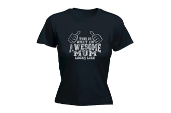 123T Funny Tee - Mum This Is What Awesome - (XX-Large Black Womens T Shirt)