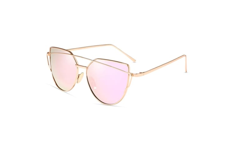 Women Cat Eye Sunglasses Coating Mirror Lens Sun glasses PinkLens
