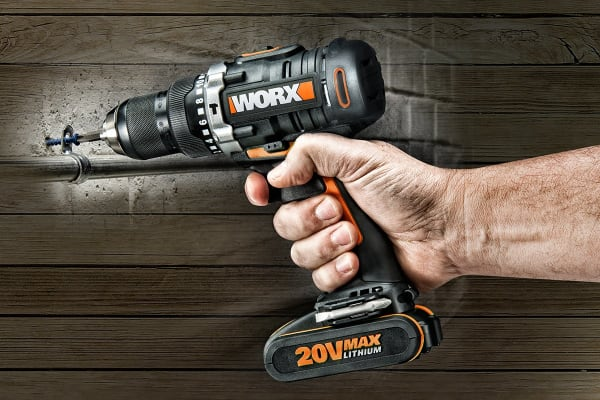 WORX 20V Cordless Hammer Drill with 2 x MAX Batteries and Charger (WX372)