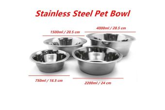 2 x 4000ml Stainless Steel Pet Deep Bowl Dish Dog Cat Puppy Kitten Food Water Feeder Bowls