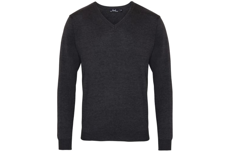 Premier Mens V-Neck Knitted Sweater (Charcoal) (XL)