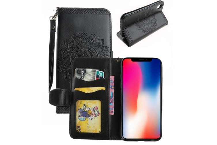 For iPhone XS X Wallet Case Elegant Mandala Embossed Durable Leather Cover Black