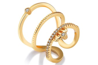Famous Madonna Fashion Ring-Gold/Clear Size US 7