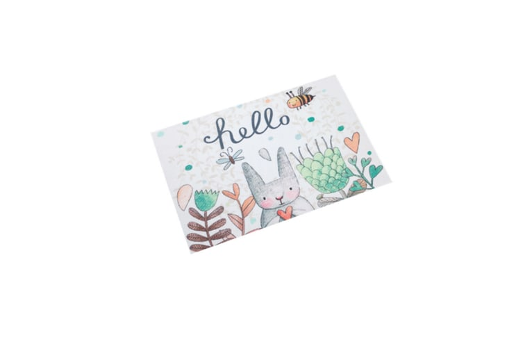 Place Mats Cartoon Easter Spring Rabbit Floral Flowers Personalized Table Mats- A