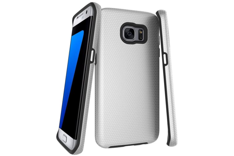 For Samsung Galaxy S7 EDGE Case  Silver Armor Shockproof Protective Phone Cover