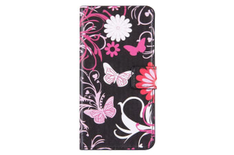 For iPhone 8 PLUS 7 PLUS Wallet Case Stylish Butterflies Leather Cover Pink