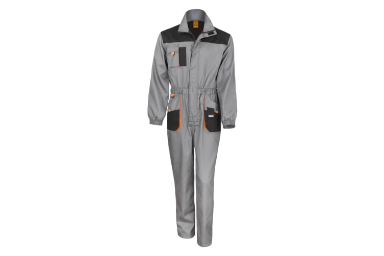 Result Unisex Work-Guard Lite Workwear Coverall (Breathable And Windproof) (Grey / Black / Orange) (2XL)