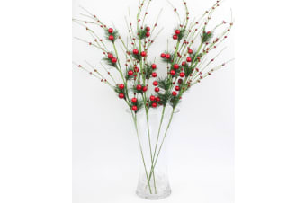 "4 x 80cm 32"" Christmas Red Berry Branch Holly Artificial Flower Pick Wreath B"