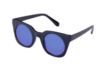 Defy Fashion Angular Cateye Sunglasses - Black/Purple Mirror