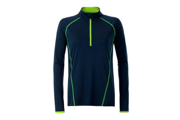 James and Nicholson Womens/Ladies Long Sleeve Sports Top (Navy/Bright Yellow) (XS)