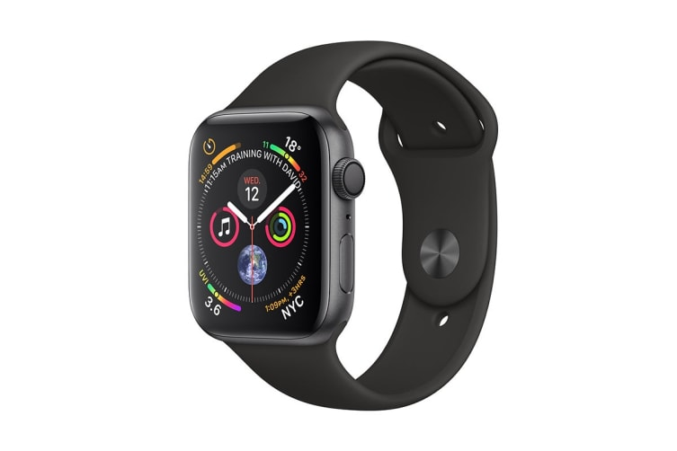 Apple Watch Series 4 (Space Grey, 44mm, Black Sport Band, GPS Only)
