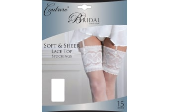 """Couture Womens/Ladies Bridal Soft & Sheer Lace Top Stockings (1 Pair) (White) (Medium (5ft-5ft8""""))"""