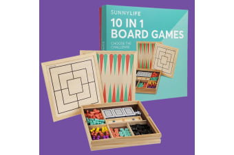 Sunnylife 10 in 1 Board Games Box | Chess, Backgammon & Much More!