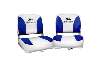 2X Folding Boat Seats Seat Marine Seating Set All Weather Swivel Blue