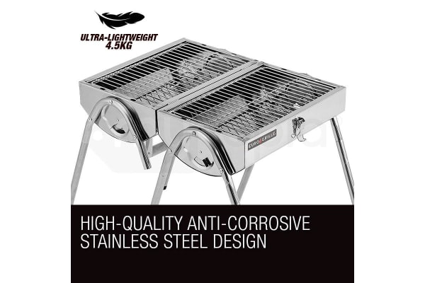 NEW EuroGrille Portable Folding Charcoal BBQ Grill Outdoor Camp Stainless Steel