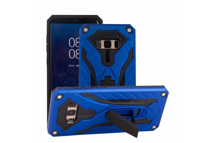 For Samsung Galaxy S8 Case  Armour Strong Shockproof Tough Cover Kickstand  Blue